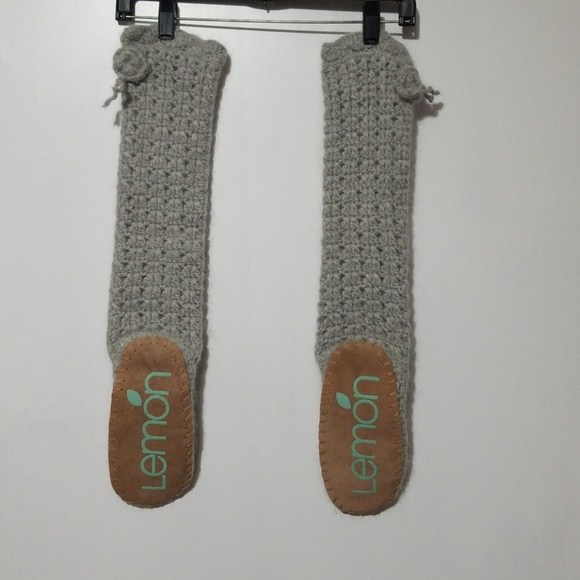 Lemon Accessories Boot Socks Angora With Suede Footpads